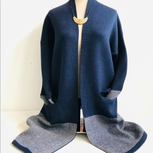 Navy Warm Sweater Cardigan Coat Duster
